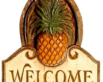 Pineapple Welcome Wall Plaque