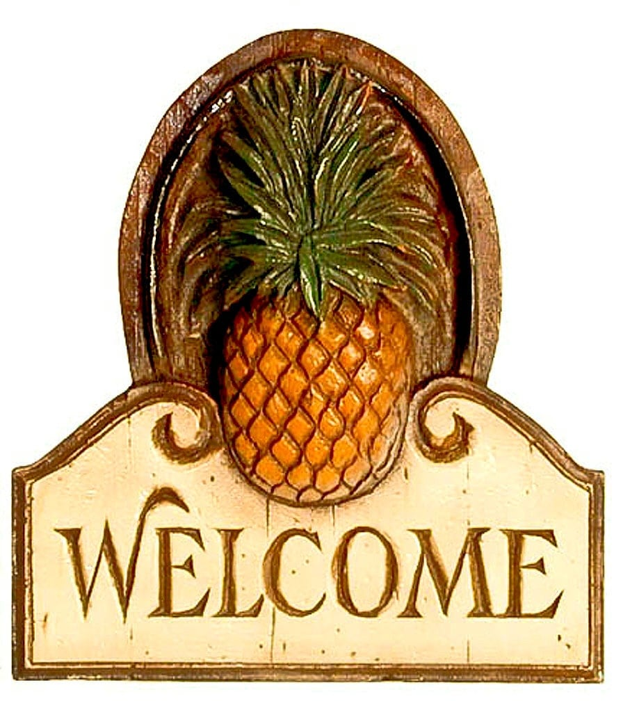 Pineapple welcome wall plaque for Pineapple outdoor decor