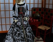 Black and White Skazka dress for BJD- SD size Dollfie, Limhwa, Customhouse, Soom, Elfdoll, etc.