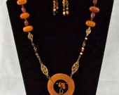 1263 Wood and Clay Beaded Necklace & Earring Set with Focal Pendant