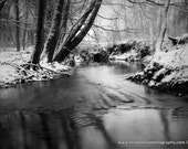 Winter River - 8x10 Print Photography - Black and White - Landscape Photography - Nature Photography - Water - Snow - Ice