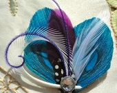CHLOE in Turquoise and Grape Peacock Feather Hair Clip, Fascinator