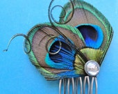 JOELLE Peacock Hair Comb, Feather Fascinator