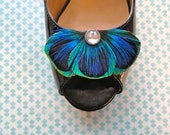 BALEY Blue Peacock Feather Shoe Clips