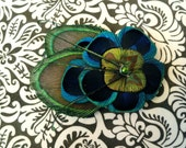 ALLY in Blue and Green Peacock Feather Hair Clip