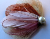 ASHLEY Ivory and Pink Peacock Feather Hair Clip