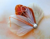 ASHLEY Ivory and Orange Peacock Feather Hair Clip