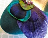 DUCHESS Purple and Natural Peacock Feather Shoe Clips, Amethyst Shoe Clips