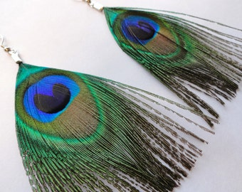 Boho STACY Peacock Feather Earrings