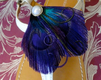 Heart and Soul Purple Peacock Shoe Clips