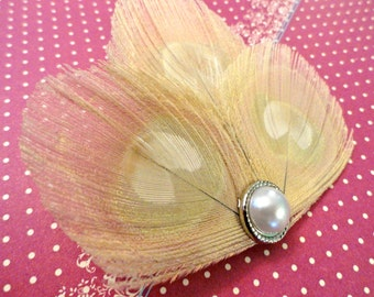 Petite Hair Clip Collection - Ivory Peacock Feather Hair Clips