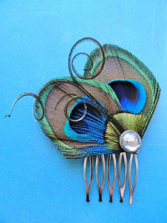 RESERVED for Kristina - 5 JOELLE Peacock Hair Clips