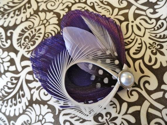CHLOE in Purple Peacock Feather Hair Clip