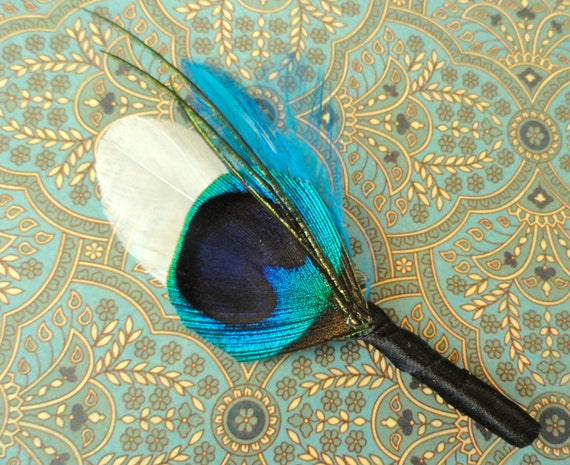CHASE Peacock and Turquoise Feather Boutonniere, Wedding, Lapel Pin