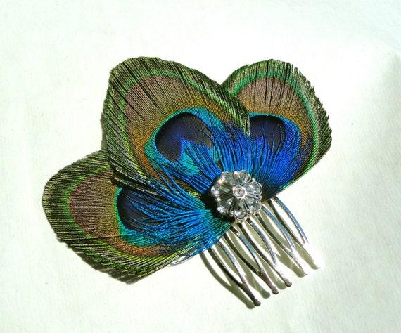 ZAZA in Peacock Blue Hair Comb, Fascinator