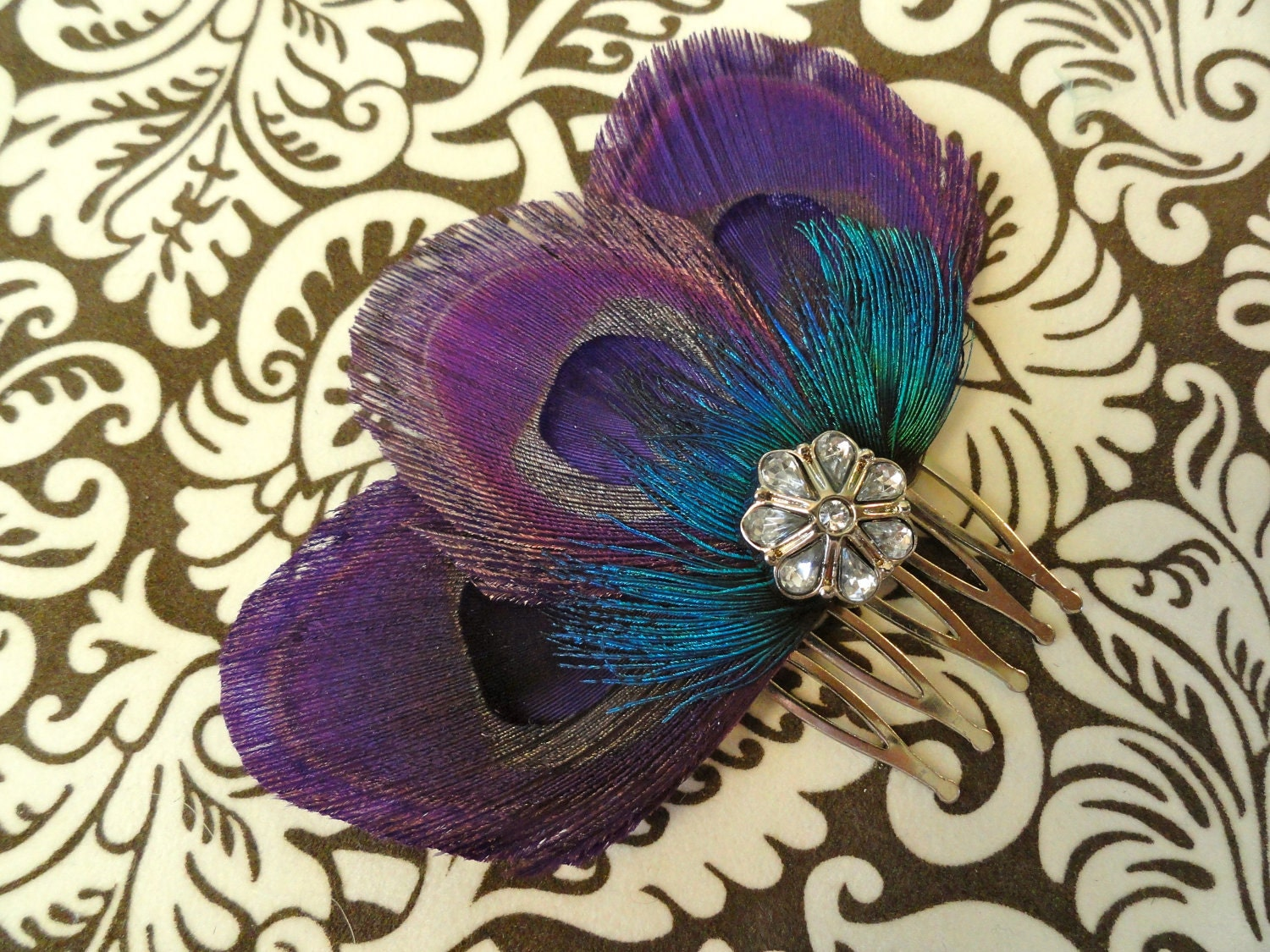 Peacock Purple Lime Green Christmas Wreath Home Decor Purple: ZAZA Purple Peacock Feather Hair Comb Feather By Lucyohlucy