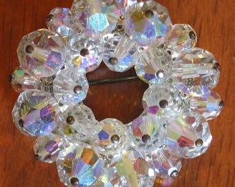 Stunning Crystal Aurora Borealis Circle Pin