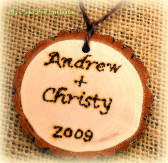 Personalized Rustic Christmas Ornament  Rustic Wood Tree Slice