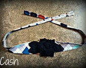Shabby chic argyle blue white gray black print headband with a white fabric flower and black leaves