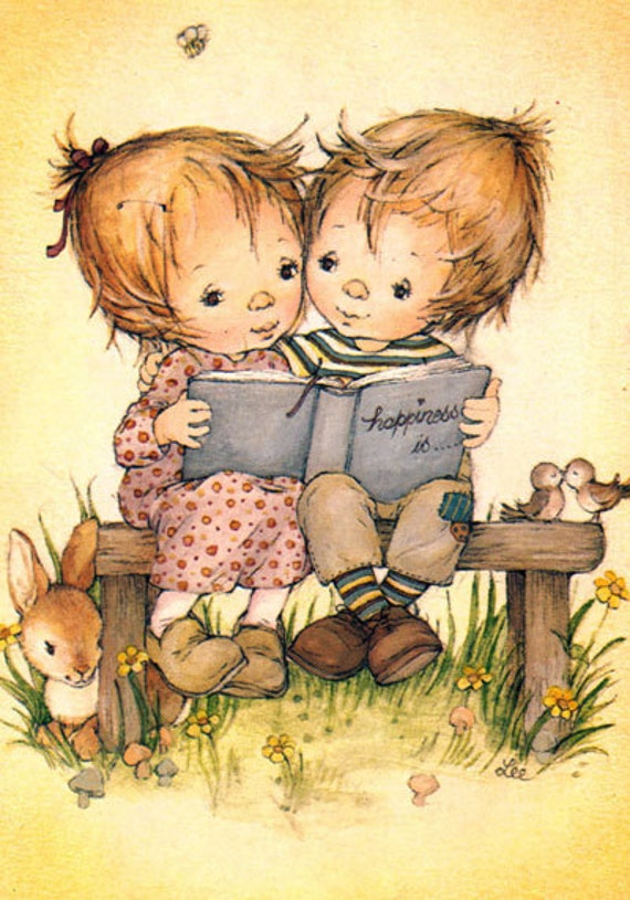 Postcard vintage seventies, by Lee.  Cute boy and girl reading. Happiness is...............