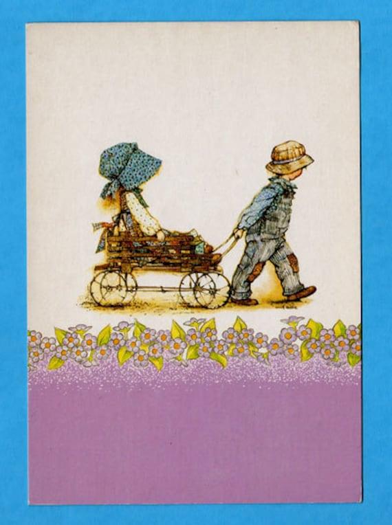 Postcard  vintage 70s. Holly Hobbie. Sweet boy pulling the little wagon.