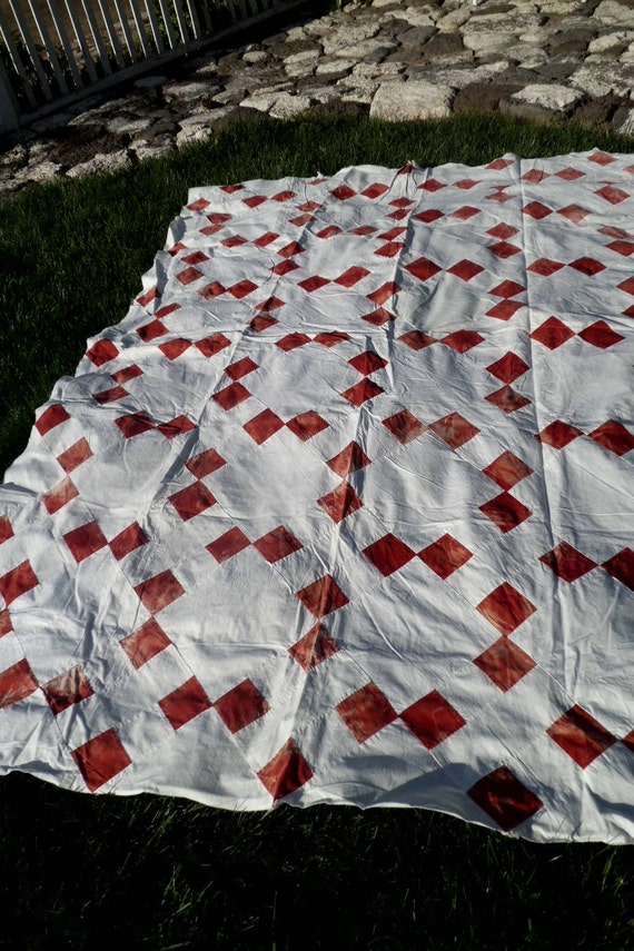 Vintage Red And White Quilt Top