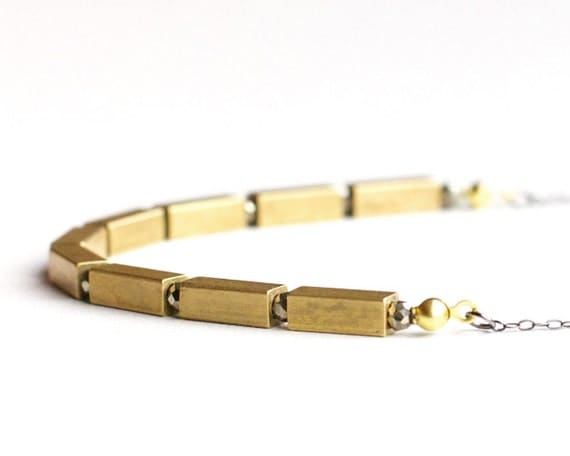 Pyrite & brass necklace: brass rectangles and pyrite beads on a long oxidized sterling silver chain