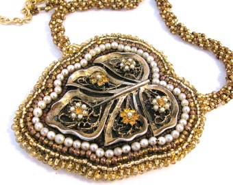 Bead Embroidery Necklace  Vintage Leaf Pendant gold brown pearl