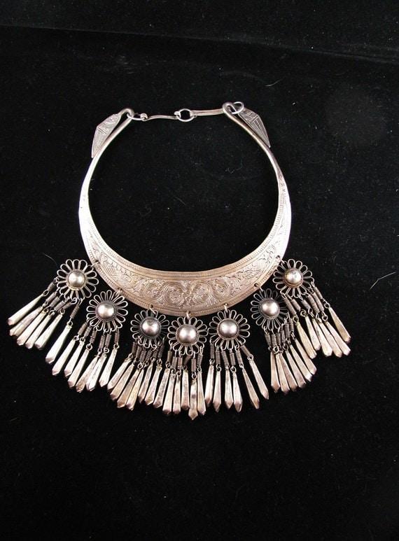 SALE Estate Silver Tribal Necklace Vintage Asian Handmade