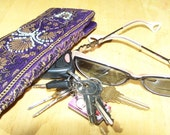 Purple Silk Eye Glass Case