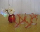 Peach candy swirl glass tumbler set