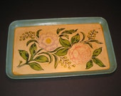 Vintage Japanese check tray with screen painted floral pattern