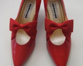 RESERVED Red Leather Bow Heels