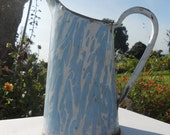beautiful French enamelware robins egg blue & white pitcher utensils