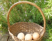 French Vintage wicker egg collecting basket France