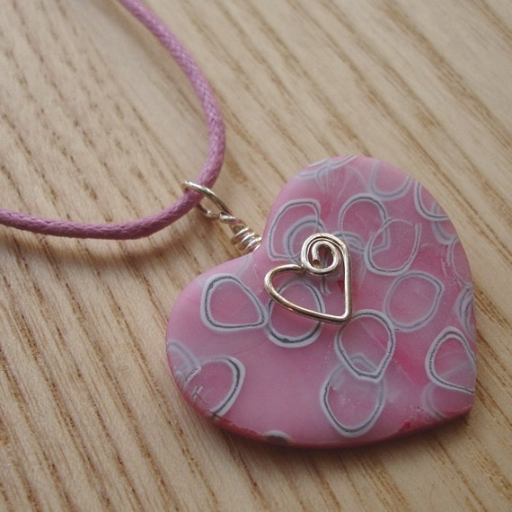 Pink White and Silver Millefiori Heart FIMO Polymer Clay Pendant