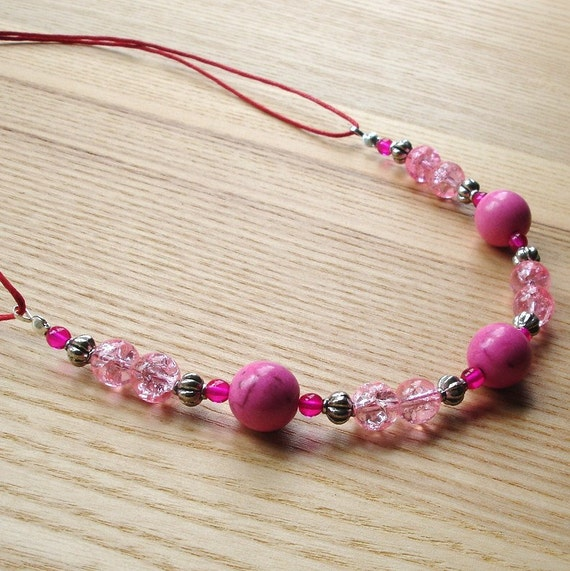 Pretty Pink Howlite Beaded Necklace - Unique Fashion Jewellery for Summer - Gift for Her, Women, Sister, Mother, Birthday, Prom - Boho Chic