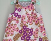 pink and grey reversible vintage floral and polkadot fabric baby dress - size 6-12 months