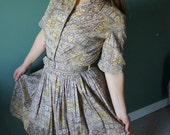 50's Shirtwaist Dress // Vintage 1950's Mad Men Casual Day Dress M