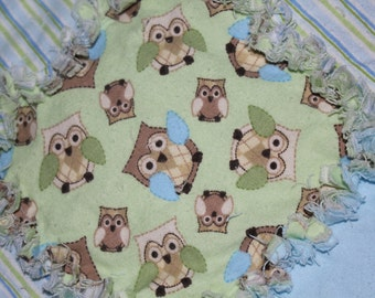 Owl Rag Quilt for Crib or Toddler Bed