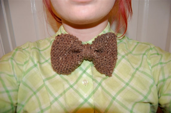 Brown Speckled Knit Bow-tie