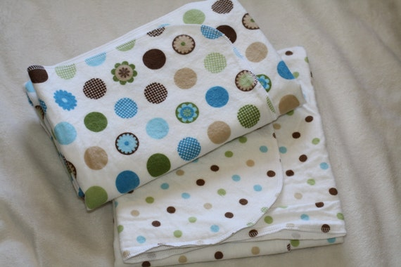 Swaddle Blankets - Baby Boy Oversized Single-Sided Flannel Baby Receiving Blankets - Boy Blue, Green and Brown Dots Set of 2