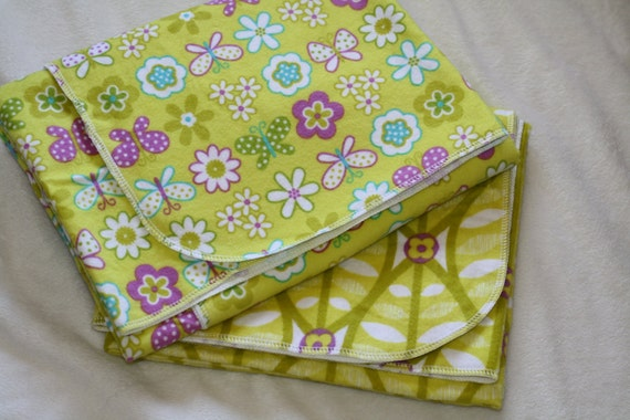 CLEARANCE SALE - Baby Girl Oversized Single-Sided Flannel Baby Receiving Blankets - Girl Yellow and Purple Set of 2