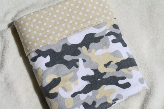 Baby Boy Oversized Double-Sided Flannel Baby Receiving Blanket - Tan Camouflage with White Dots on Tan Background