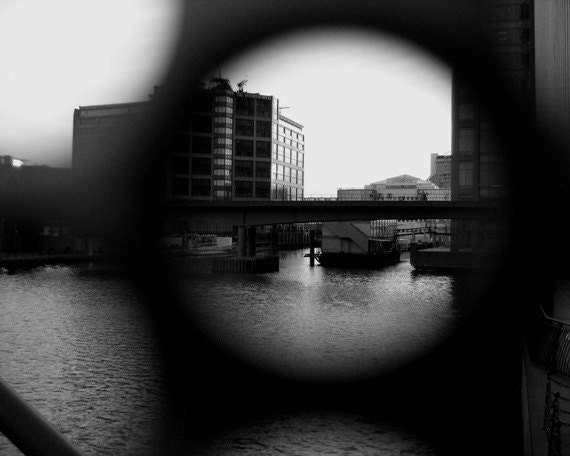London Photo - Design Architecture Art Photograph - Spy Docklands Canary Wharf - 8x10 B&W