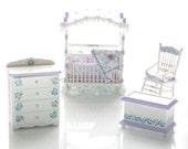 LAVENDER Blue Pastel Hand-Painted Canopy Crib Nursery Dollhouse Miniature Set Custom Dressed