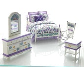 SWEET VIOLETS Hand-Painted Dollhuse Miniature Double Bed Bedroom Set Purple Lavender Victorian Sweet Custom Dressed Hand Painted