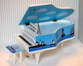 NAUTICAL LIGHTHOUSE White Grand Piano Hand-Painted Dollhouse One-Inch Scale Ocean Seashore Sailboat