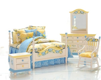 LADY ASHLEY Yellow & Blue Dollhouse Miniature Victorian Bedroom Set - 4pc Hand-Painted