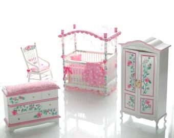 PINK & WHITE Victorian Baby Nursery Hand-Painted Dollhouse Miniature Canopy Crib Custom Dressed Set